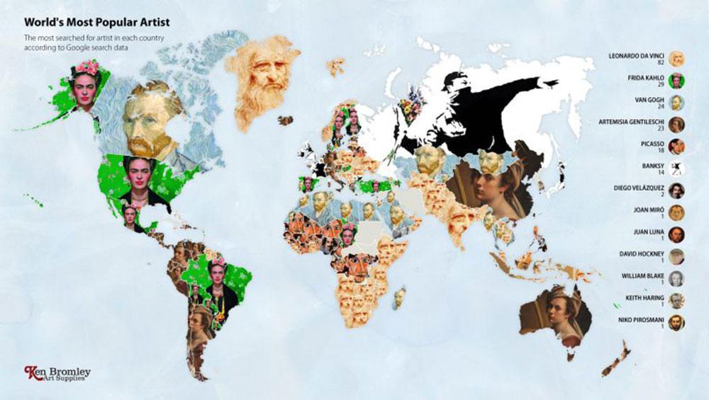 Mapa revela os artistas  mais populares em cada país