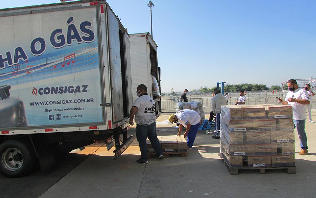 Consigaz a cada cesta básica arrecadada até sábado, irá dobrar a doação